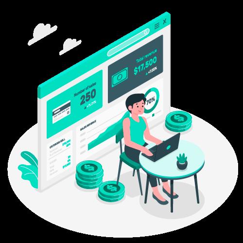 Illustration d'une femme travaillant sur son ordinateur. Elle travaille dans un environnement illustrant la gestion du budget et des recettes d'une entreprise.